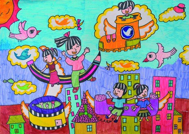儿童绘画比赛,一等奖的奖品为香港迪斯尼亲子家庭游